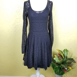 Free People Lace Long Sleeve Skater Dress